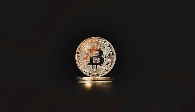 Bitcoins dourados com número binário para cadeia de bloco digital e conceito de troca de criptomoeda