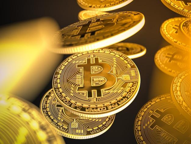 Bitcoins dourados em fundo preto