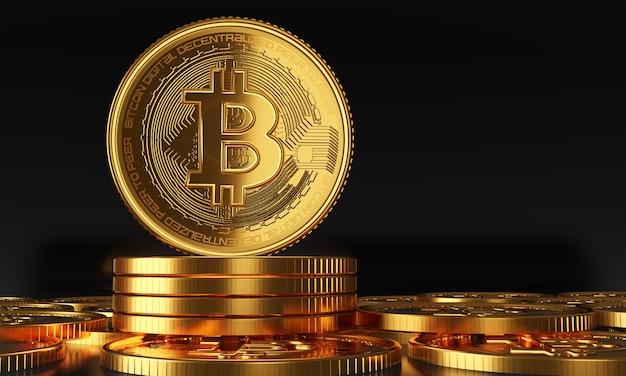 Bitcoins dourados em pé, conceito de criptomoeda