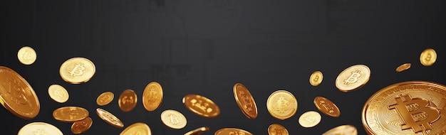Bitcoins em vários conceitos de tecnologia de fundo digital, criptomoeda e blockchain.