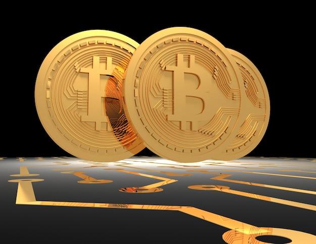 Bitcoins na placa de circuito impresso. ilustração renderizada 3d