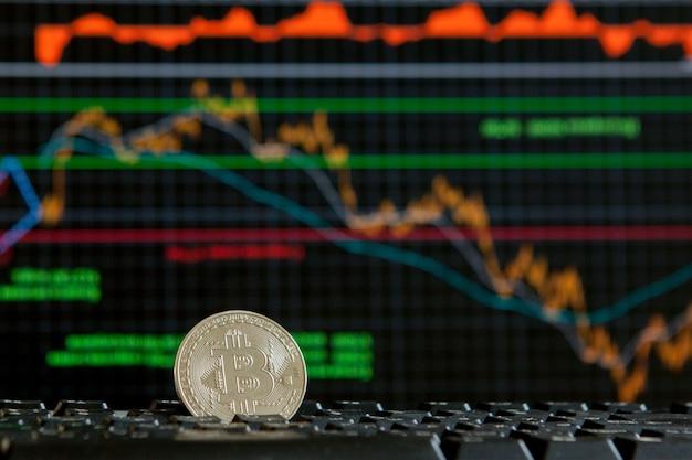Bitcoins no conceito de criptomoeda do gráfico de escada