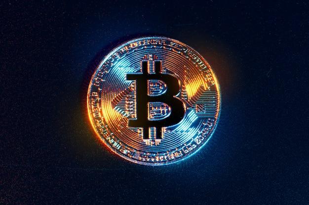 Bitcoins no preto. conceito de negociação de moeda criptografada