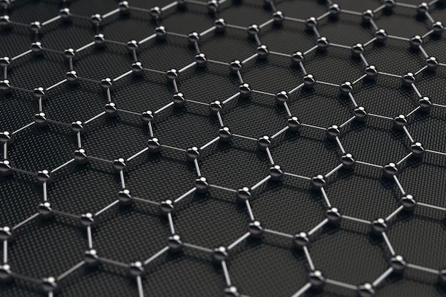 Black chemistry abstract hexagonal metal molecule background texture closeup extrema. renderização 3d