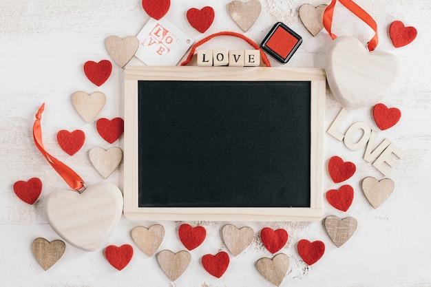 Blackboard com diferentes tipos de coração