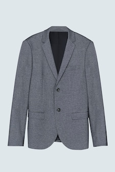 Blazer cinza com vista frontal, roupa masculina casual