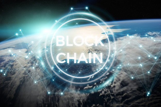 Blockchain na renderização 3d do planeta terra