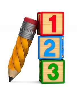 Bloco com número e lápis no espaço em branco. ilustração 3d isolada