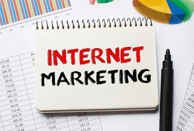 Bloco de anotações com ferramentas e notas sobre marketing na internet