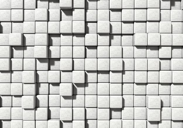 Bloco de cimento de alvenaria branca e fundo de pedra. arquitetura e conceito abstrato. ângulo de visão superior. renderização de ilustração 3d
