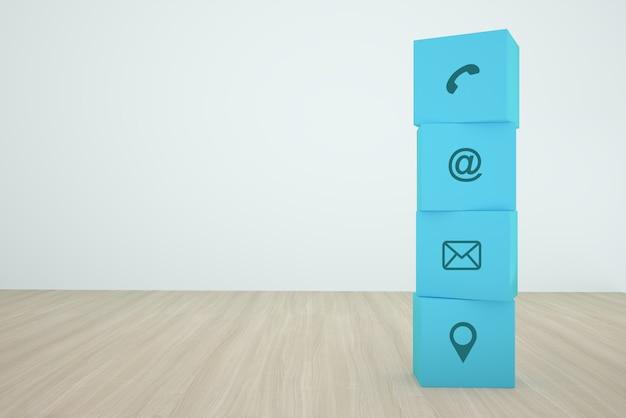 Bloco de cubo azul, empilhamento com contato ícone organizando em uma linha na madeira