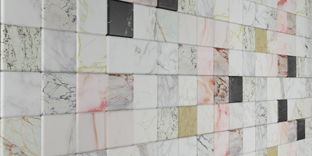 Bloco de mármore ilustração 3d de parede de textura de mármore colorido