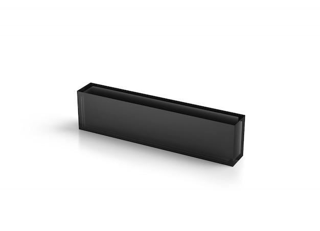 Bloco de mesa de acrílico transparente preto em branco
