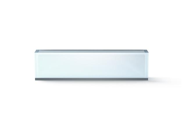 Bloco de mesa de vidro transparente em branco, vista frontal