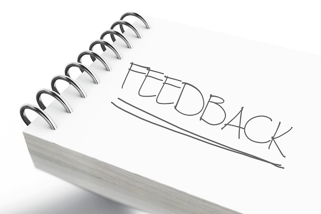 Bloco de notas 3d com texto de feedback