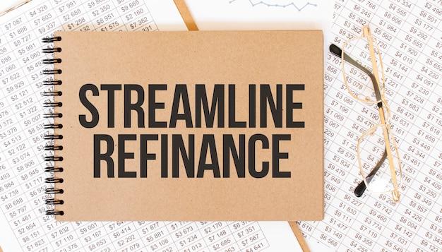 Bloco de notas artesanal colorido com texto stramline refinance. bloco de notas com óculos e documentos de texto. conceito de negócios