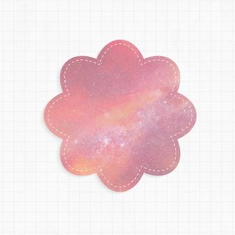 Bloco de notas com forma de flor de fundo rosa de galáxia