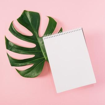 Bloco de notas em espiral sobre a folha de monstera em fundo rosa