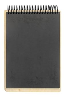 Bloco de notas espiral de papel artesanal de madeira isolado no branco