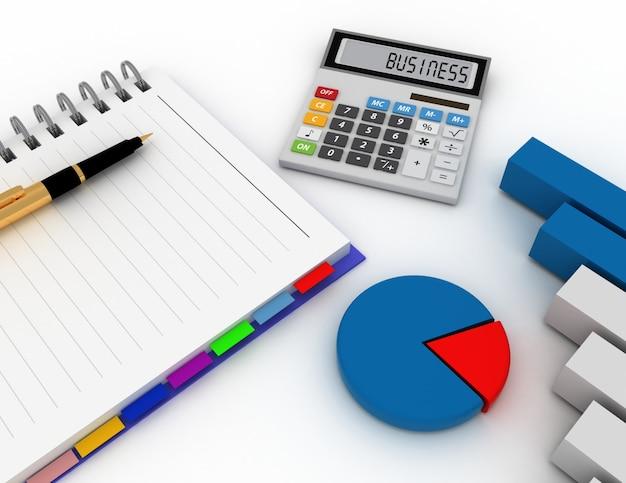Bloco de notas espiral em branco com caneta, calculadora e gráfico de barras. finanças empresariais