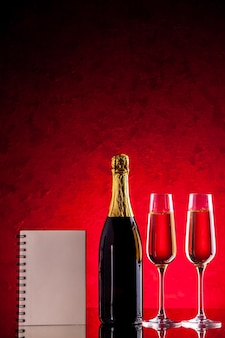 Bloco de notas frontal para garrafa de taças de vinho