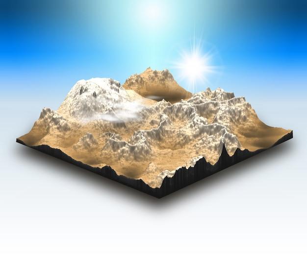 Bloco de paisagem de estilo isométrico 3d com cena de montanha