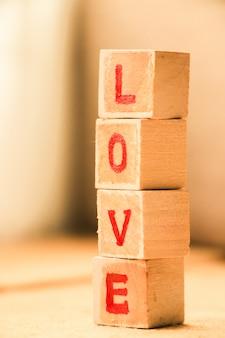Bloco de palavras de amor