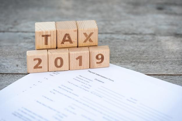 Bloco de palavras tax 2019 no formulário de imposto