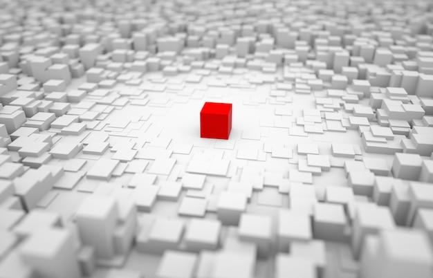 Bloco de perspectiva vermelho bloco vermelho no meio