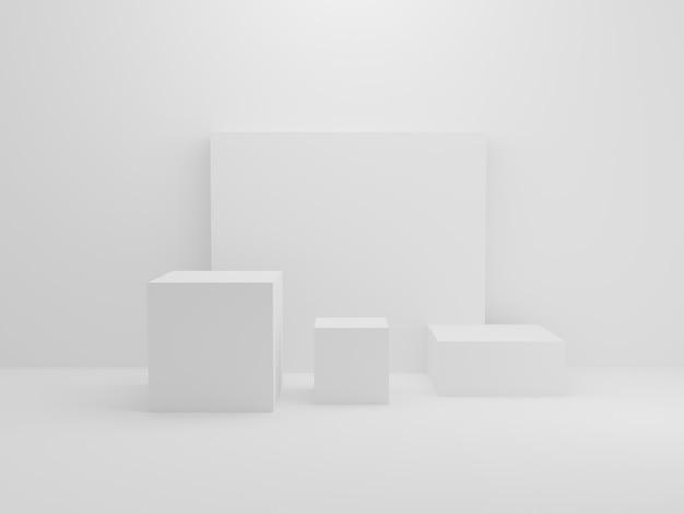 Bloco de retângulo branco em fundo de sala pequena