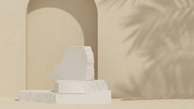 Bloco de tijolos pódio e fundo creme com luz natural para apresentação do produto renderização 3d