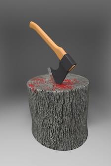 Bloco sangrento com um machado. ilustração 3d
