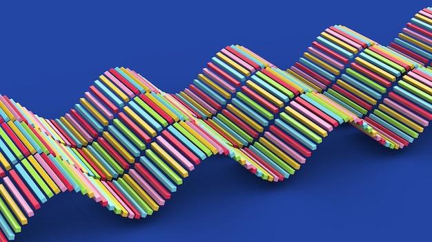 Blocos coloridos ondulantes fundo azul ilustração abstrata