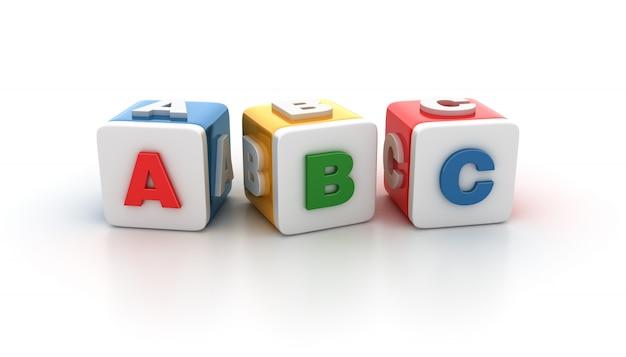 Blocos de azulejos com letras abc