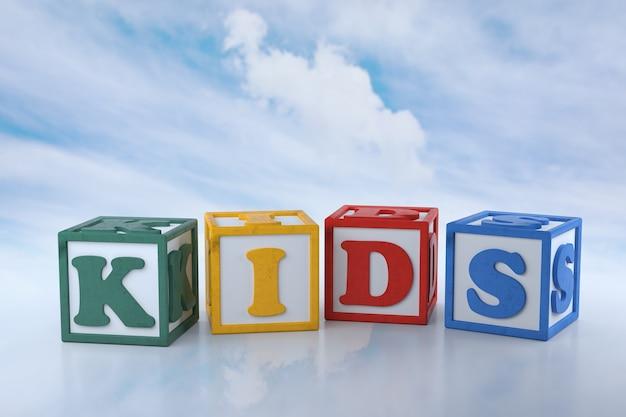 Blocos de crianças em fundo de nuvem. renderização 3d