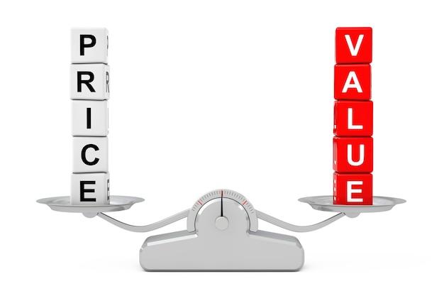 Blocos de cubo de preço e valor sobre a escala de equilíbrio simples em um fundo branco. renderização 3d