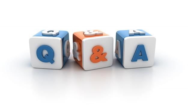 Blocos de lado a lado com perguntas e respostas