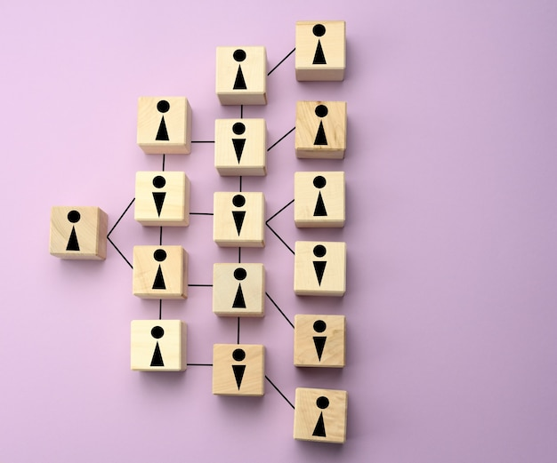 Blocos de madeira com figuras, estrutura organizacional hierárquica de gestão, equilíbrio de gênero, modelo de gestão eficaz na organização