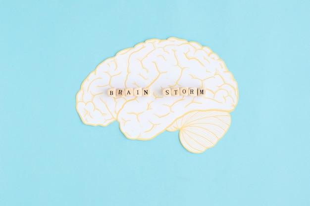 Blocos de tempestade cerebral sobre o cérebro branco contra o fundo azul