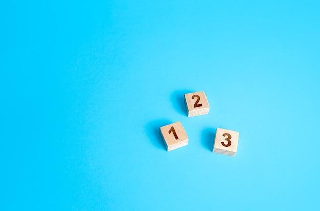 Blocos numerados em um fundo azul etapas simples acordo de roteiro de organização