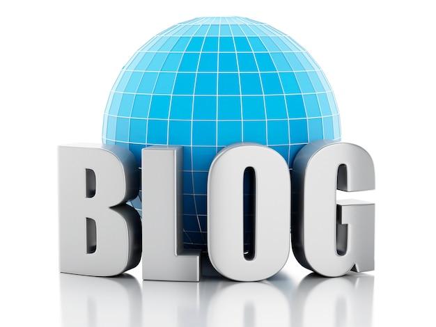 Blog 3d e globo em fundo branco