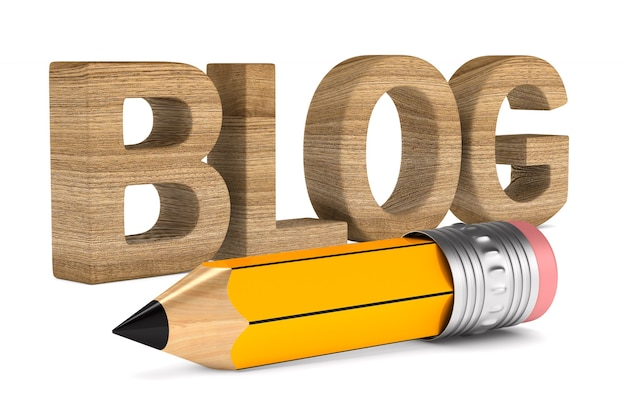 Blog e lápis no espaço em branco. ilustração 3d isolada