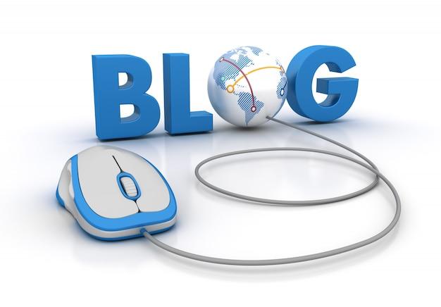Blog palavra 3d com globo mundo e mouse de computador