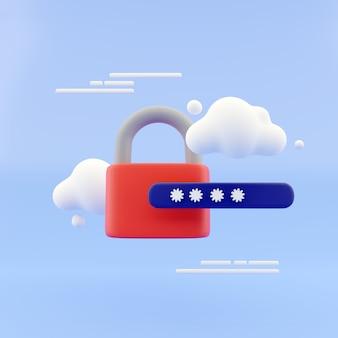 Bloqueio 3d e campo de senha. conceito de login seguro protegido por senha. conceito criativo mínimo nas cores azul e preto. renderização 3d.