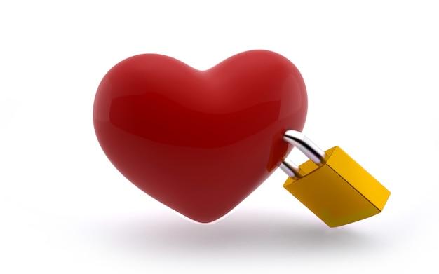 Bloqueio de amor: forma de coração com fechadura amarela em branco
