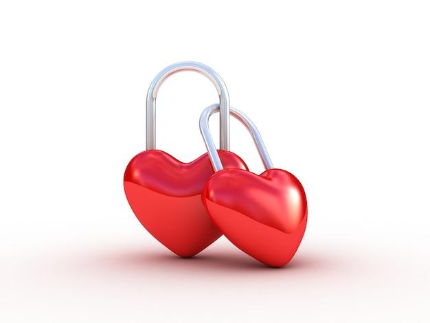 Bloqueio de coração vermelho em branco. ilustração 3d
