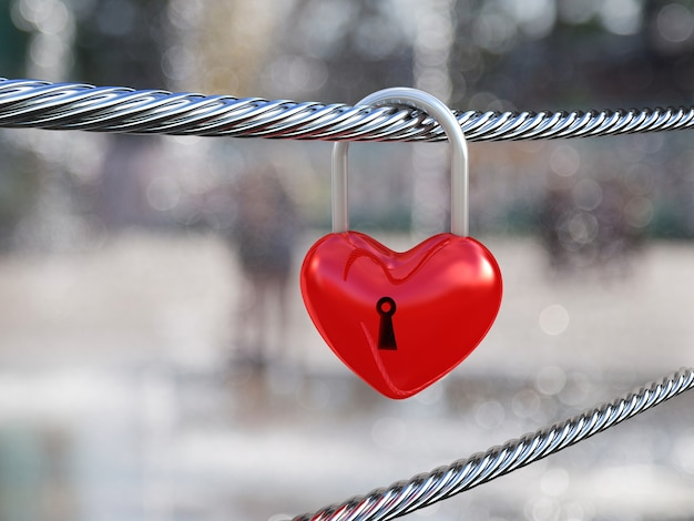 Bloqueio de coração vermelho na natureza. ilustração 3d