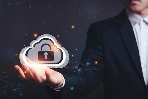 Bloqueio de segurança cibernético e backup na nuvem.