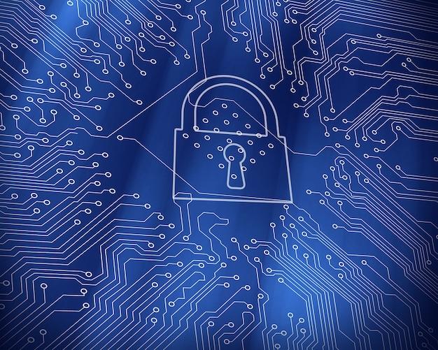 Bloqueio digital em fundo de tecnologia de placa de circuito azul