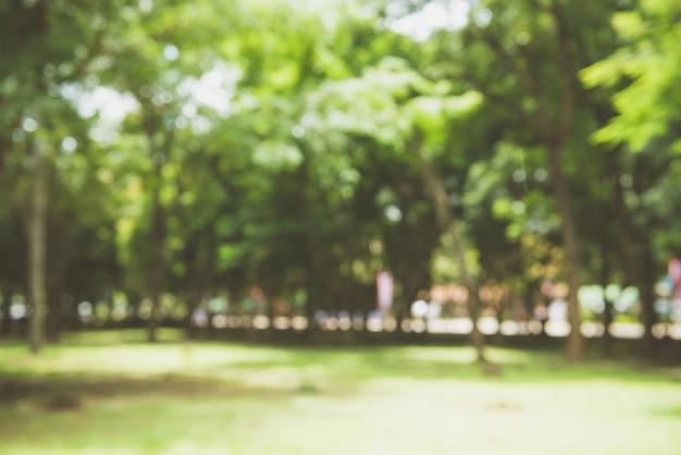 Blur parque verde natureza com bokeh luz do sol fundo abstrato. copie o espaço da aventura de viagem e conceito de meio ambiente. estilo de cor do filtro de tom vintage.